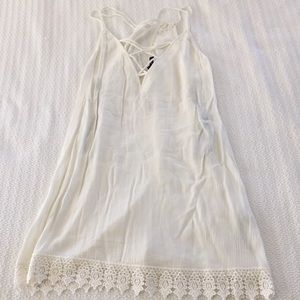 Lace Up front, crochet trimmed cream sundress NWT